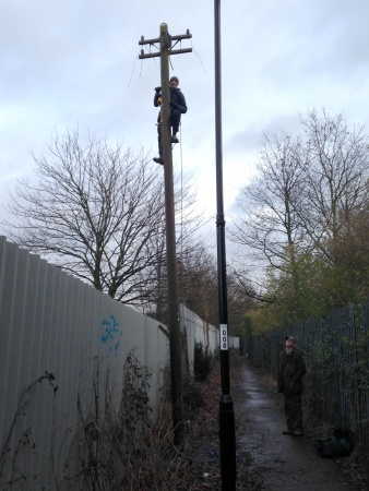 Andy up a telegraph pole